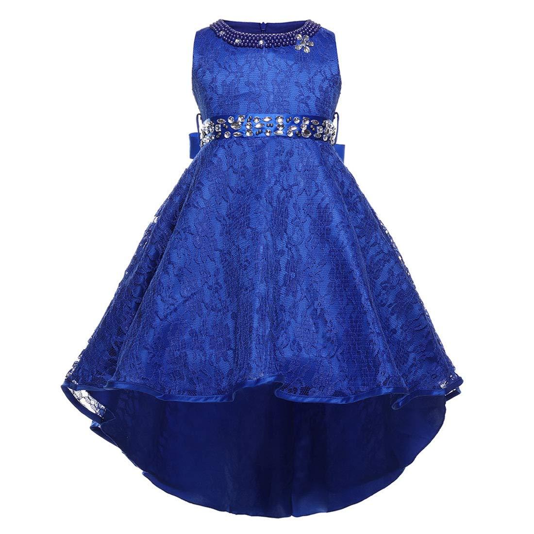 bleu 130cm MALLTY Robe de soirée de Noces pour bébé Robes Swing élégantes avec Ceinture pour Enfants Filles (Couleur   bleu, Taille   160cm)