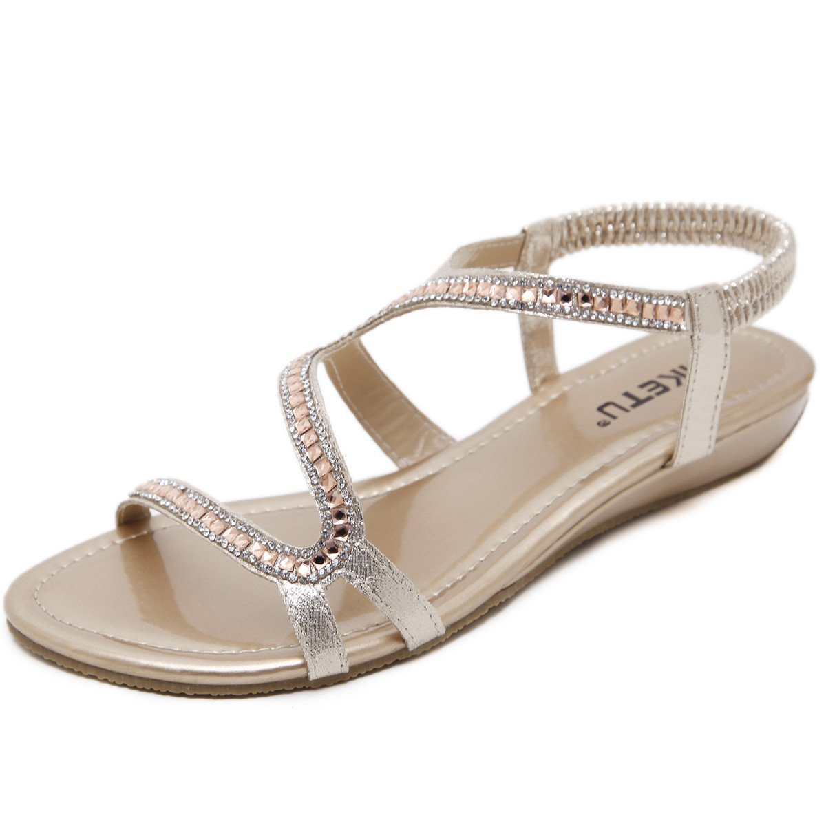 GESDY Women Summer Open Toe Sandals Crystal Rhinestone Low Wedge Strappy Beach Slippers Shoes Party Evening B07CK1DK92 4.5 B(M) US|Gold