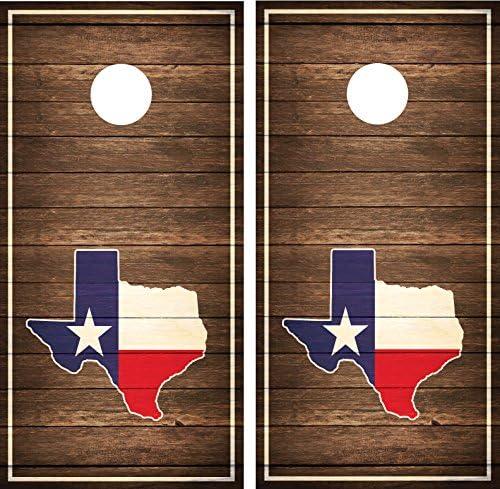 Texas Stateアンティーク調木製ブラウンフラグラミネートCornholeボードデカールラップラップ