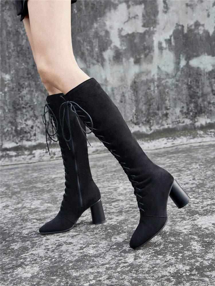 QINGMM Damenmode Wildleder Kniestiefel Winter Outdoor Warme Stiefel Stiefel Stiefel Cross Strap Ritter Stiefel bff33d