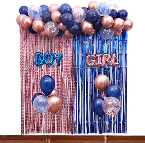 Gender Reveal Decorations Party Supplies Kit,Navy Blue and Rose Gold Balloon Garland,Boy and Girl Foil Balloons,Foil Fringe Curtains Backdrop