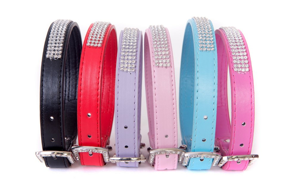 Bright Pink SMALL Length of Collar 14.5\ Bright Pink SMALL Length of Collar 14.5\ Lushpetz Rhinestone Diamante Dog Collar in 4 Sizes Pink Black Red bluee or Purple Available (Small Length of Collar 14.5 , Bright Pink)