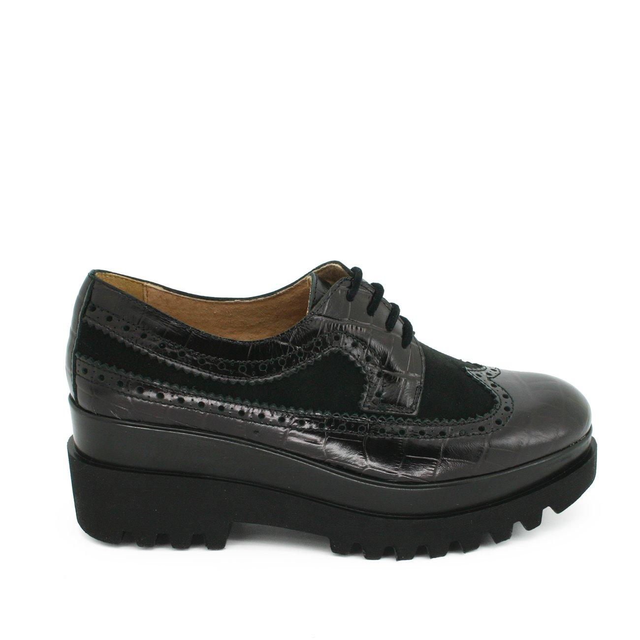 Zapato Mujer de Cordones Tipo Oxford - Suela Gruesa - Combinado Ante Piel - Color Negro o Beige Camel Marrón - Interior Forrado EN Piel 38 EU|Negro