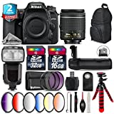 Holiday Saving Bundle for D7500 DSLR Camera + AF-P 18-55mm + Flash with LCD Display + Battery Grip + 6PC Graduated Color Filter + 2yr Extended Warranty + 32GB Class 10 Memory - International Version
