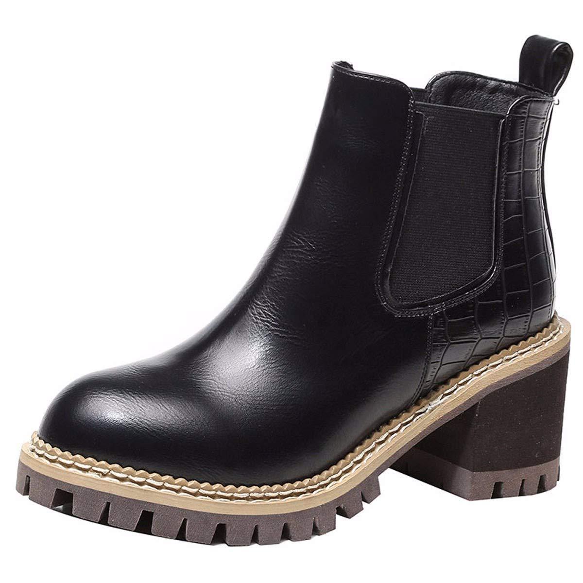 HBDLH Damenschuhe/Kurze Stiefel High - 8Cm Wild Und Rau Samt Ma Dingxue.