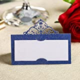 YUFENG Laser Cut Place Cards Table Name Cards for Wedding Birthday Party (60pcs Blue)