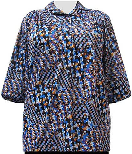 A Personal Touch Geotastic 3/4 Sleeve Pullover Women's Plus Size Top
