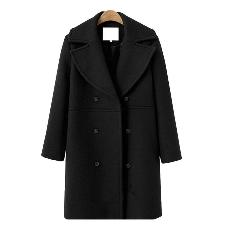 Black colorfulspace Winter Coat Jacket Large Size Wool Woolen Vintage Coats Long Cardigan Double Breasted Warm Coat