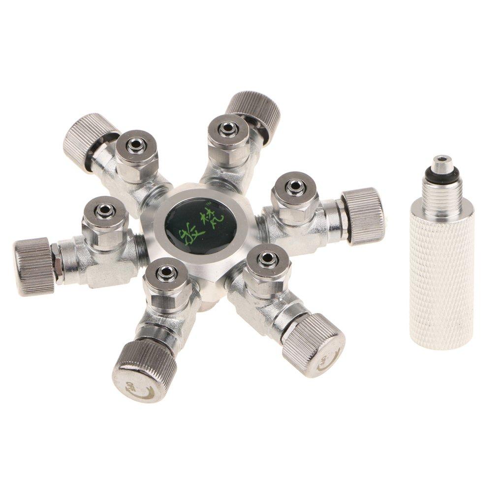 6 Way MonkeyJack Stainless Steel Aquarium Tank CO2 Splitter Regulator Distributor Needle Solenoid Check Valve with 4 6 Way Outlets 6 Way