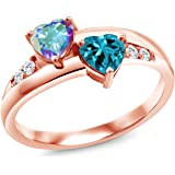 Gem Stone King 1.19 Ct Mercury Mist Mystic Topaz London Blue Topaz 18K Rose Gold Plated Silver Lab Grown Diamond Ring