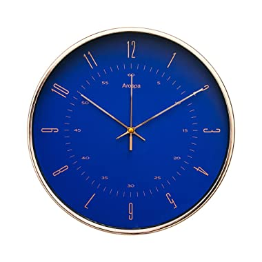"""Arospa Luxury Modern 12"""" Silent Non-Ticking Wall Clock with Rose Gold Frame (Royal Renaissance Blue)"""