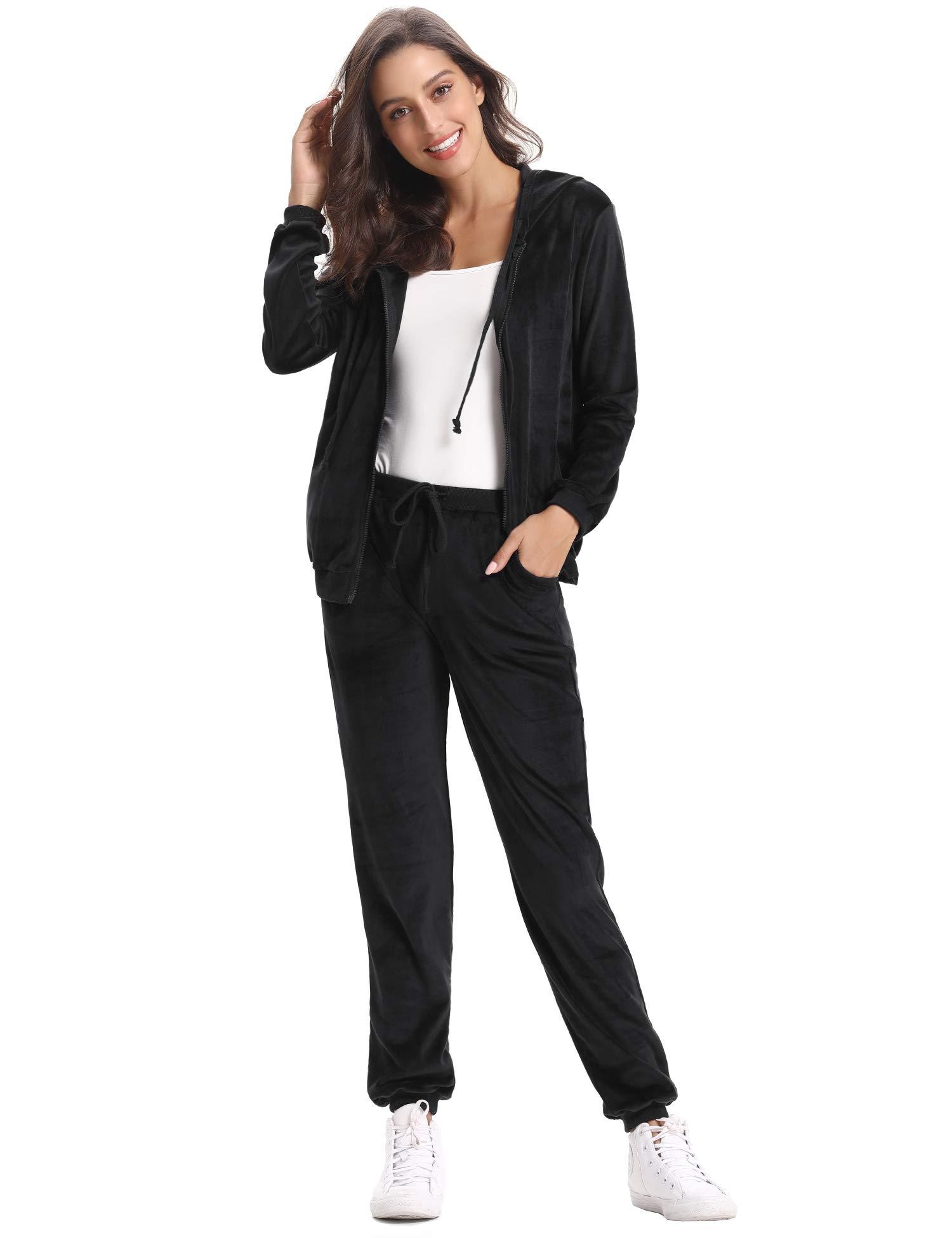 Abollria Survêtement Femme Ensembles Sportswear Sweat Capuche Suit Zipper  Pull à Capuche avec Poches Casual Jogging Pyjama d intérieur Tenue  Confortable ... e294ab6f51a