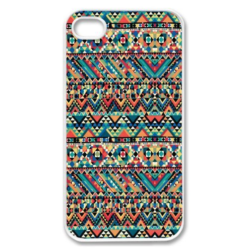 Apple iPhone 4G 4S Teal Mayan Blue Aztec Pattern White Sides Case Cover Protector Accessory Vintage Retro Unique AT&T Sprint Verizon Virgin Mobile