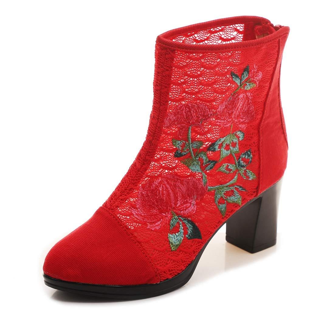 ZHRUI Mesh-Stiefel-Frauen-Stickerei-Blaumen-Block-Breathable  Schuhe (Farbe  Mesh-Stiefel-Frauen-Stickerei-Blaumen-Block-Breathable  Rot, Größe   EU 41) 6047c6