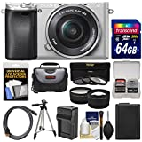 Sony Alpha A6300 4K Wi-Fi Digital Camera & 16-50mm Lens (Silver) with 64GB Card + Case + Battery & Charger + Tripod + 3 Filters + Kit