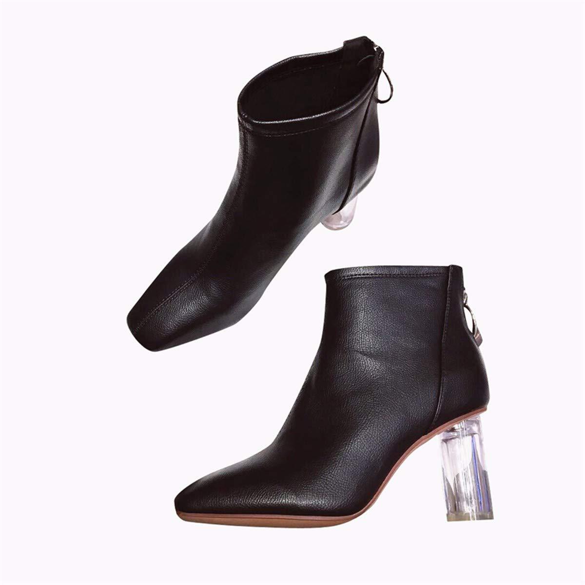 AJUNR Modische Arbeit Damenschuhe Ferse Stiefel Square hohe 7cm Transparente Crystal Ferse Kurze Stiefel und Stiefeletten ma dingxue