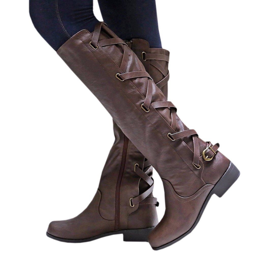 Syktkmx Womens Lace up Strappy Knee High Motorcycle Riding Low Heel Winter Leather Boots B077V1S1JZ 7 B(M) US|1-dark Brown