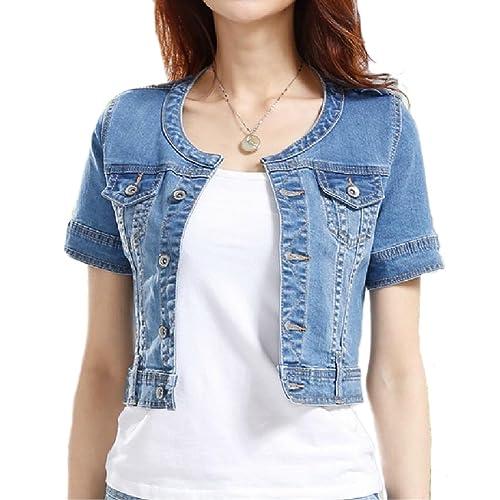 Short Sleeve Denim Jacket Amazon Com