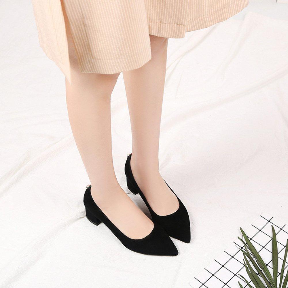 DKFJKI Lässige Damenschuhe Damenschuhe Damenschuhe Spitze Schuhe Mode Wild Einfarbig Flachen Mund schwarz b8320b