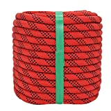YUZENET Static Rock Climbing Rope 2/5 Inch 100 Feet Outdoor Safety Fire Escape Rope Rappelling Rope, Red/Black
