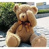 Noloos Stuffed Plush Animal Fuzzy Giant Shy Teddy Bear Decorative Toys (Light Brown 120cm)