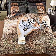 Alicemall 3D Tiger Comforter Set Twin Size Stylish Vivid 3D Tiger 5-Piece Polyester Comforter Bedding Set, Twin/ XL Twin/ Full/ Queen/ King (Twin)
