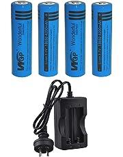 Skytower New Set WGP Wonderful Green Power 4pcs 18650 4200mAh 3.7V Lithium Cobalt High Capacity Button Top Rechargeable Battery for UltraFire Cree LED Headlight Headlamp Head Torch Flashlight AU Plug Smart Charger