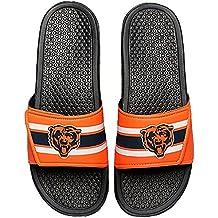 NFL Football Mens Team Logo Legacy Stripe Sport Shower Slide Flip Flop Sandals