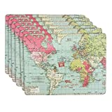 "6 X WORLD MAP COUNTRIES BLUE PINK GREEN LAMINATED CORK PLACEMATS H9"" X W12"""