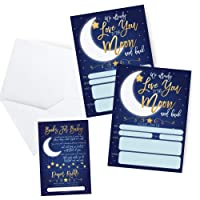 Baby Shower Invitations with Book Request and Diaper Raffle Card, Love You to The Moon and Back, Twinkle Star Baby Sprinkle, 20 Fill in Invites and Envelopes