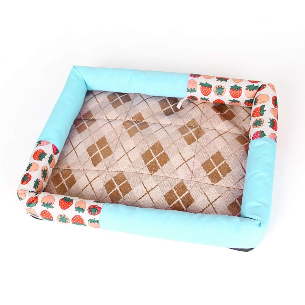 bluee LargeDog Bed Cat Bed 10 colors Strawberry Cat Litter Dog Supplies Nest Pad Ice Silk Teddy Summer Mat Kennel Pet Bed (color   Burst, Size   S)
