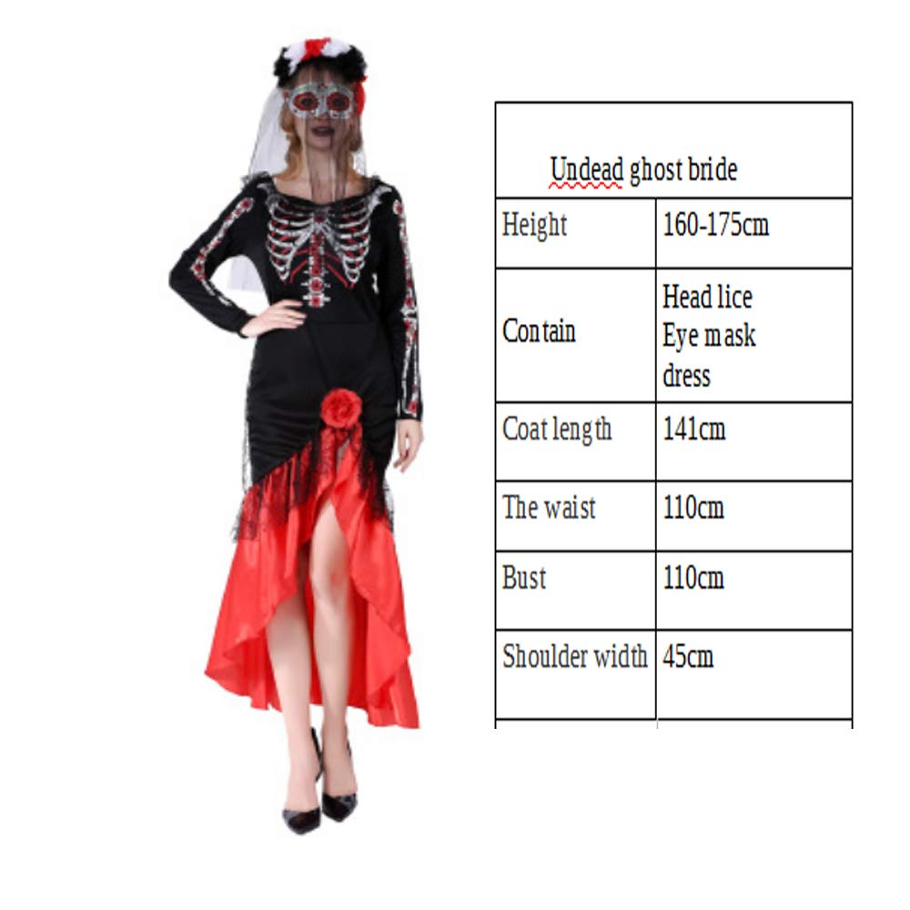 Wajsi Halloween-Kostüm Erwachsene Hexen Skelett Skelett Ghost Dress Horror Kleid Ghost Bride Cosplay Masquerade