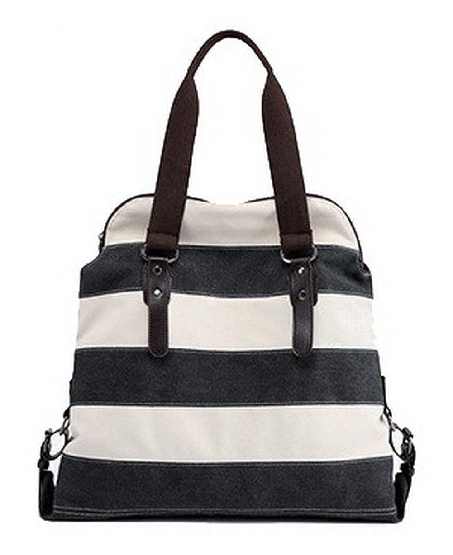 Black WeiPoot Women's Short Trips Crossbody Bags Canvas TwoToned Shoulder Bags, EGHBG181350