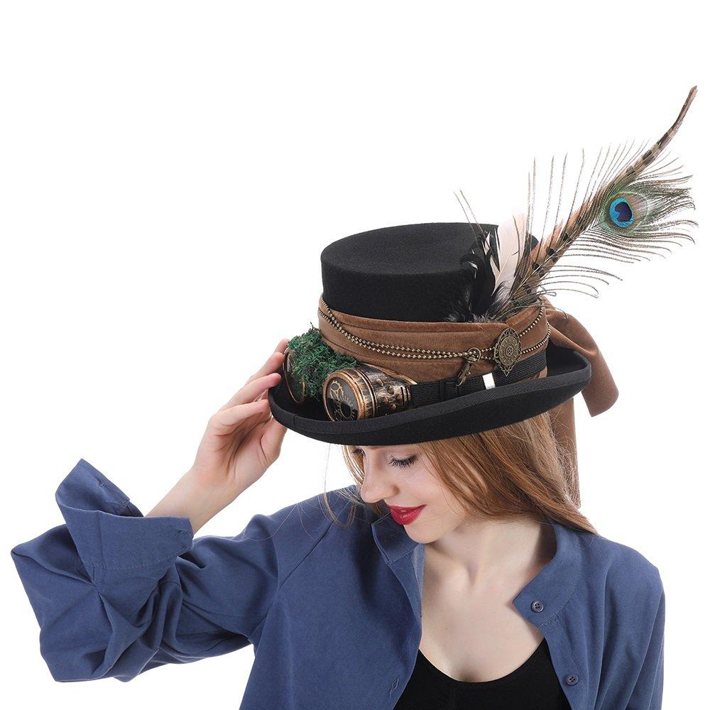 GHC Gorras y Sombreros Sombrero de Copa Steampunk Sombrero de Sombrerero Loco Sombrero de Pirata Alicia en el país de Las Maravillas ( Color : Negro , Size : 59cm )