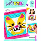 Colorbok Cat Learn To Sew Needlepoint Kit, 6-Inch by 6-Inch Pink Frame - 59338