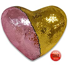 QQB Mermaid pillow, two Reversible Sequin color Heart shaped decorative throw pillow with pillow insert, 13''×15''(gold and pink)