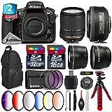 Holiday Saving Bundle for D810 DSLR Camera + 18-140mm VR Lens + 35mm 1.8G DX Lens + 2.2x Telephoto Lens + 0.43x Wide Angle Lens + 6PC Graduated Color Filer Set + 2yr Warranty - International Version