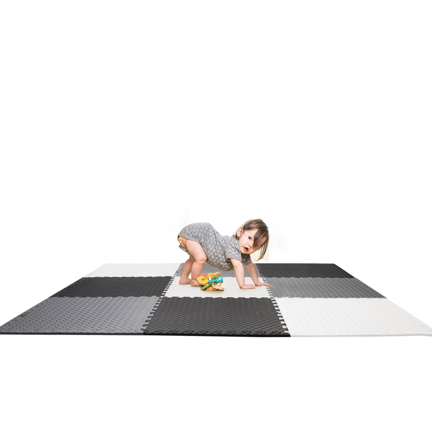 Kids Foam Play Mat Large Interlocking Tiles 36 square feet (6' x 6 ' area) Black, Gray, White