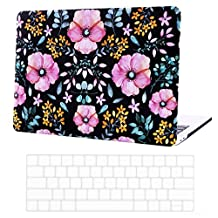 MacBook Pro 13 Case 2016 Release Keyboard Skin and Hard Shell Bundle Matte Cover fits all Apple Mac Pro 13 inch 2016 Models both Touch Bar (A1706) and non Touch Bar (A1708) (Pink Floral)