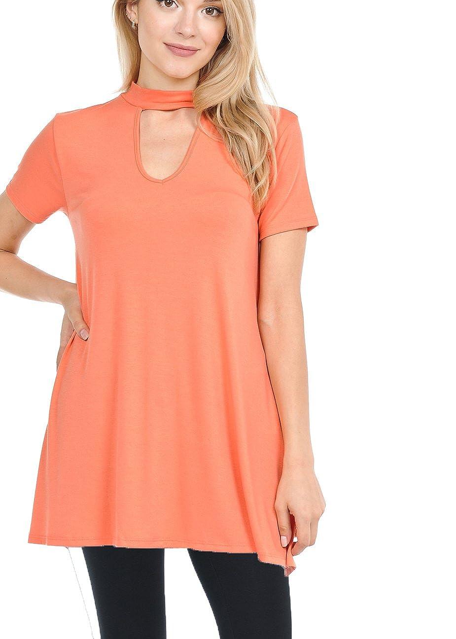 Deep Coral JNTOP Women's Premium Short Sleeve Choker Neck Tunic Top