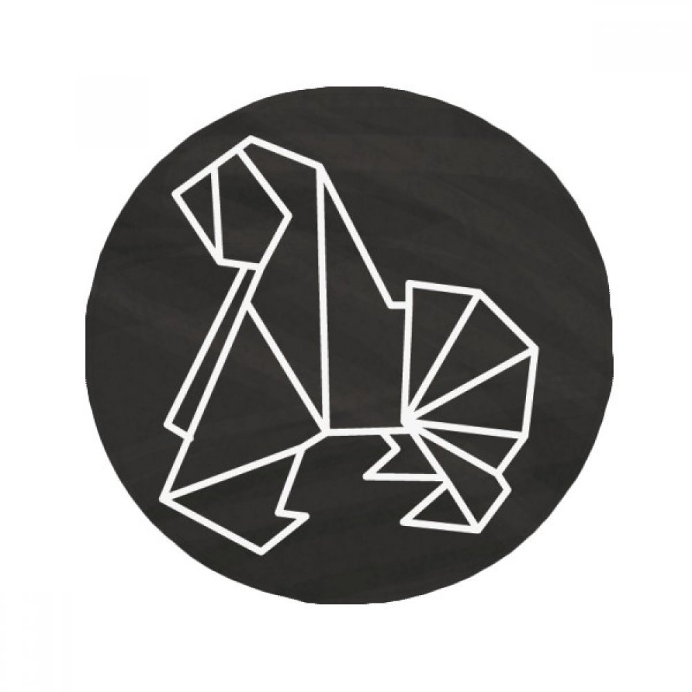 60X60cm DIYthinker Abstract Origami Dog Geometric Shape Anti-Slip Floor Pet Mat Round Bathroom Living Room Kitchen Door 60 50Cm Gift