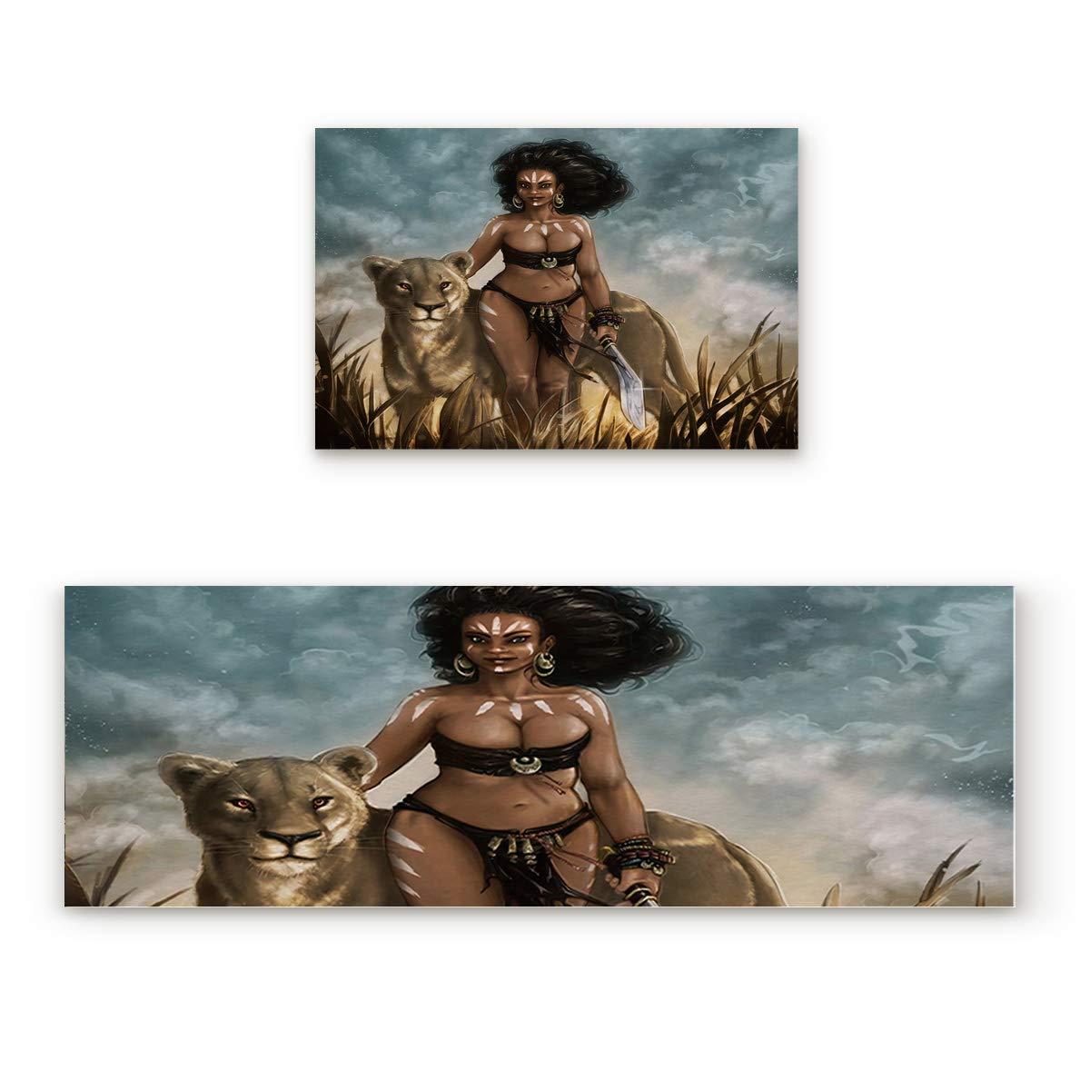 African Women7fiy7347 15.7x23.6In+15.7x47.2In Findamy Non-Slip Indoor Door Mat Entrance Rug Rectangle Absorbent Moisture Floor Carpet for Valentine's Day colorful Heart Pattern Doormat 23.6x35.4In+23.6x70.9In