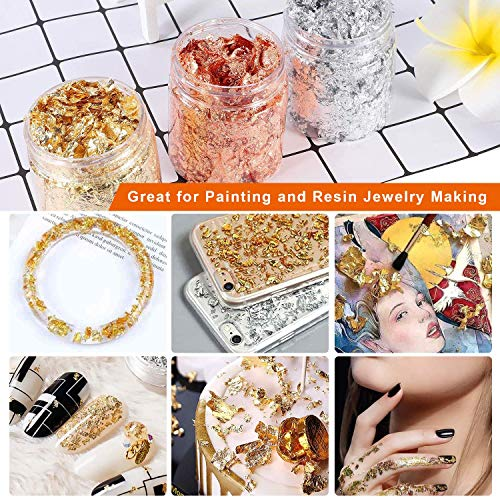 Gold Foil Flakes Set with Tweezers, WJLING Gilding Flakes for Nails Art, Painting, Slime, DIY Crafts, Resin Jewelry Modes Making, 10 Grams Per Color (Gold, Silver, Copper Colors)