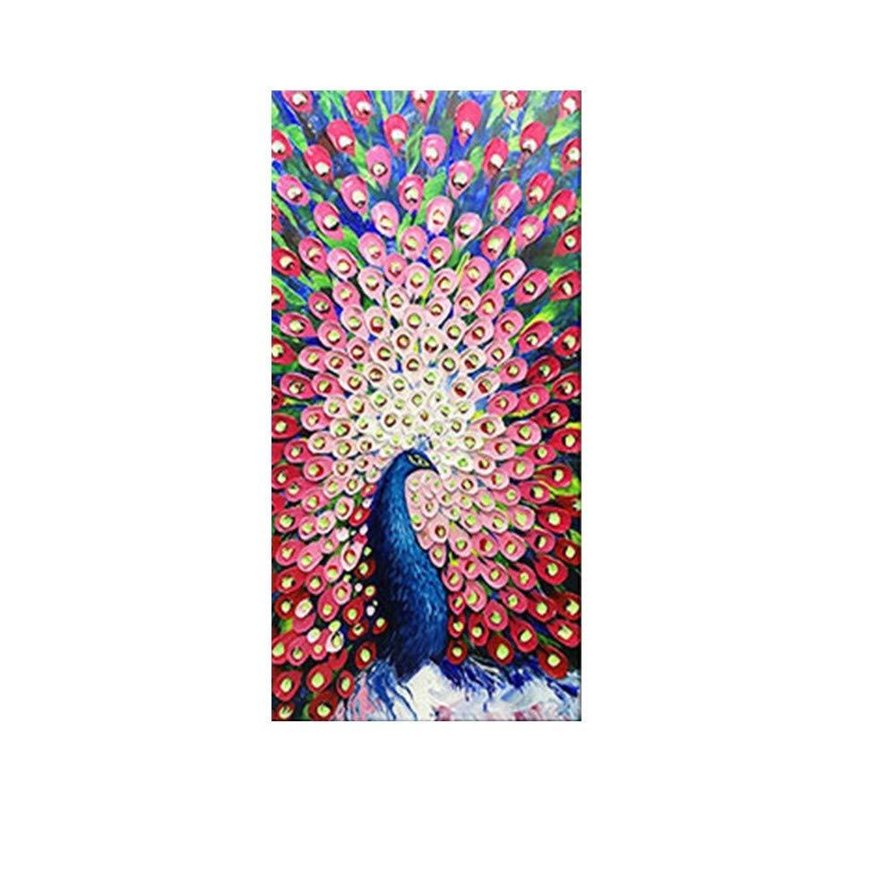 OME&MEI OME&MEI OME&MEI Pintura Al Óleo Pintada A Mano Apertura Colorida del Pavo Real Pintura Decorativa del Porche del Pasillo Sin Marco-50X80Cm 8cf4d2