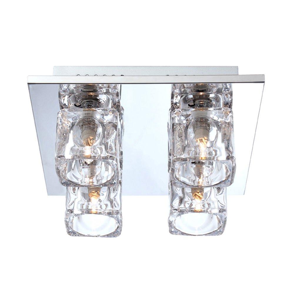 Decken Lampe Wohnzimmer Beleuchtung Flur Chrom Glas Würfel Stanzung klar Fernbedienung Globo 68428-4