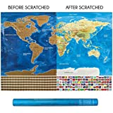 Our Best Scratch Off World Map & Holder for Travel Addicts, Deluxe Gold 2018 Flat Globe Maps with Countries Flags, Beautiful Large Decorative Modern Worlds Map Poster for Home & Office Perfect Gift!