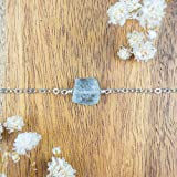 "Raw aquamarine crystal nugget anklet in 925 sterling silver - 8"" chain with 2"" adjustable extender - March birthstone"