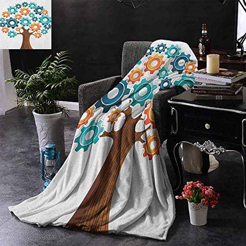 DUCKIL Travel Throwing Blanket Industrial Innovation Gears Concept Tree System of Nature Cooperation Start Up Modern Graphic Blanket for Sofa Couch Bed W40 x L60 Multi