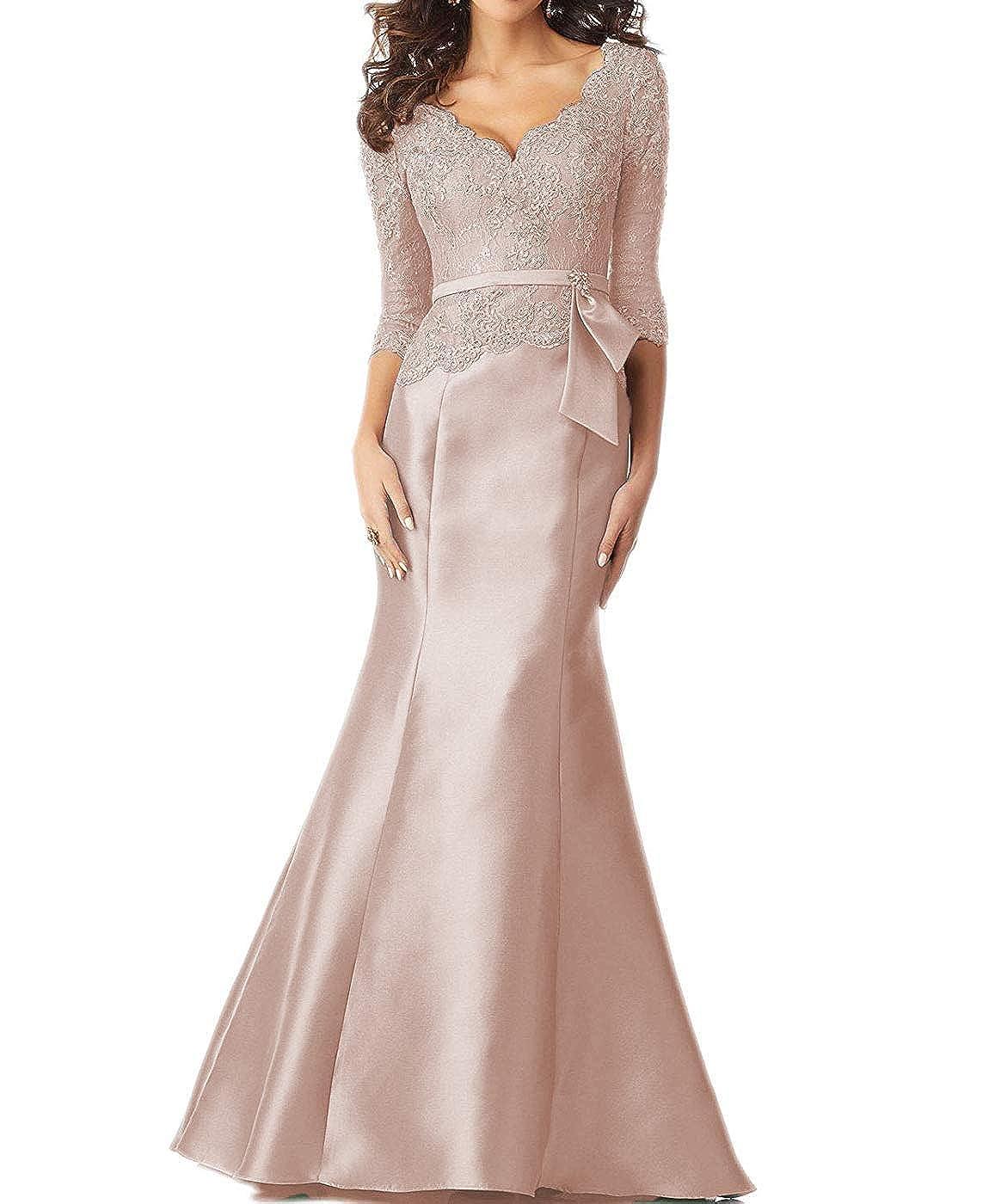 bluesh tutu.vivi Women's VNeck Lace Mermaid Evening Prom Dresses 3 4 Sleeves Appliques Long Formal Gown