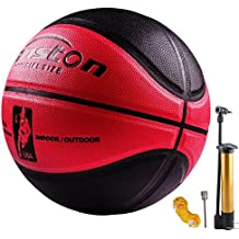 "Senston 29.5"" Basketball Outdoor Indoor Leather Basketballs Official Size 7 Game Basketball Ball Street Basketball with Net Needle"